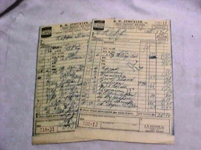 R W Strickler York PA 1961 Receipts Strickler Oyster Can Illustrated Qty of (2)