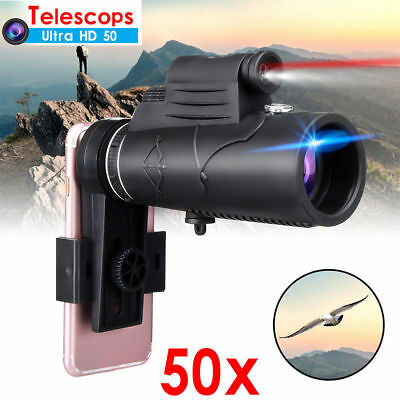 HD 50X Optical Zoom Clip on Camera Lens Phone Telescope For Universal Cell Phone