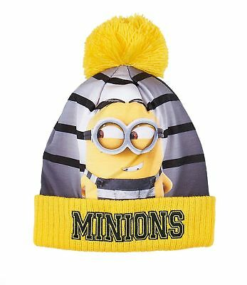 Boys Girls Kids Official Licensed Minions Despicable Me Grey Yellow Winter Hat