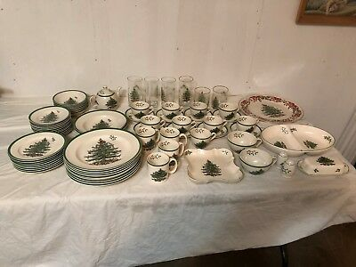 Huge 76 Pc. Spode Christmas Tree Dinnerware Set Excellent Condition