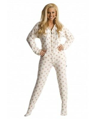Jumpin Jammerz Gold Stars Fleece Footed Pajamas Adult PJ NWOT Hooded Size XS