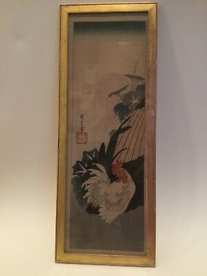 Antique Japanese woodblock print Cockerel