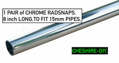 """RADSNAPS RADIATOR PIPE COVERS CHROME PACK of 2 SNAPs  200mm (8"""") x 15mm  GENUINE"""