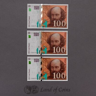 FRANCE: 3 x 100 French Franc Banknotes With Consecutive Serial Numbers