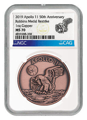 2019 Apollo 11 50th Robbins Medals 1 oz Copper Antiqued Medal NGC MS70 SKU55120