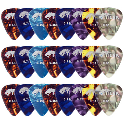 Tiger Celluloid Guitar Picks - Pack of 24 Guitar Plectrums Light-Heavy