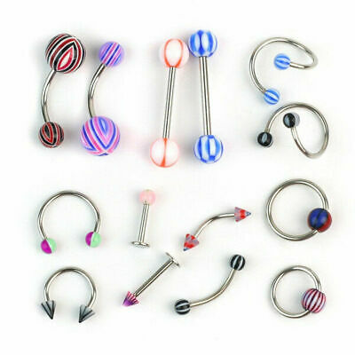 100 Pcs Belly Button Navel Ring Bar Bars Body Piercing Jewellery Rings Makeup