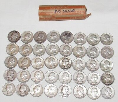 Roll of 40 Washington Silver Quarters $10 Face Value 80% Lot pap