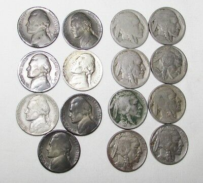Lot of 15 Mixed Silver War Nickels and Buffalo Nickels