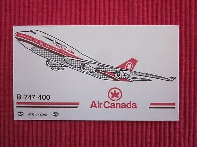 Ancienne Carte De Visite Air Canada B-747-400  Avion Aviation Boeing