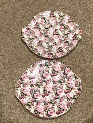 Royale Garden Staffordshire Chintz Tab Handled Plate Platter- England  SET OF 2