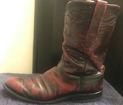 6f8e904af15 VINTAGE LUCCHESE SAN Antonio Cherry Goat Western Boots 8.5 D Size ...