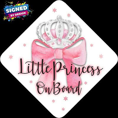 Little Princess on Board, Child Baby On Board Car sign Pink Bow Silver~Non Pers