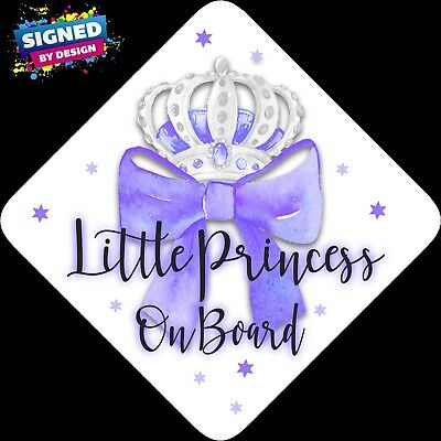 Little Princess on Board, Child Baby On Board Car sign Purp Bow Silver~Non Pers