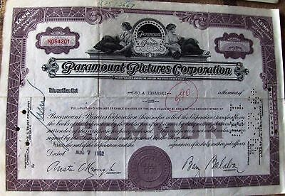 Stock certificate Paramount Pictures Corporation dated 1950's-1960's