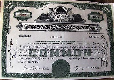 Stock certificate Paramount Pictures Corporation dated 1960's 100 shares
