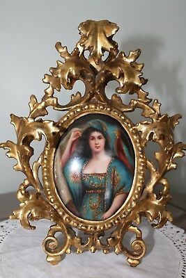 Antique Hand Painted & Signed Portrait Porcelain Plaque In Rococo Frame