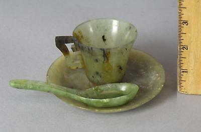 Antique Chinese Carved Nephrite Jade Cup & Saucer + Spoon, NO Reserve!