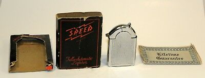 nice unused 1948 art deco speed automatic petrol lighter in box + instructions