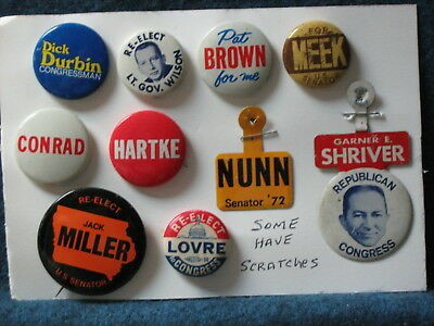 10 Political Buttons & Tabs - Various State Candidates Durbin Pat Brown Nunn etc