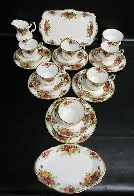 Royal Albert Old Country Roses 22 Piece Tea Set - First Edition 1962/73 Stamp