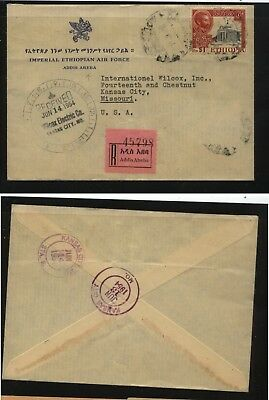 Ethiopia  air force  registered cover to US   1954     MS0828