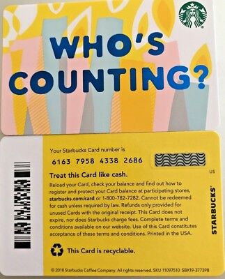 "2019 Starbucks ""who's Counting?"" Gift Card #6163 Mint No Value"
