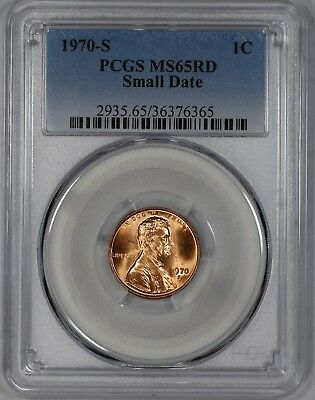 1970 S Lincoln Memorial Cent Penny Pcgs Cert Ms 65 Rd Red Small Date (365)