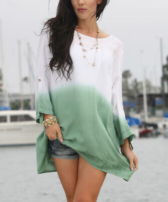 Oversized Blouse Size 16 White & Green Ombré Tunic Top