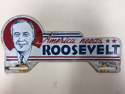 1932 Franklin Roosevelt License Plate Tag Attachment