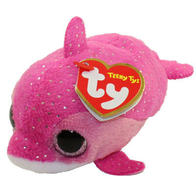 """TY Beanie Boos 4"""" Teeny Tys FLOATER Pink Dolphin Stackable Plush w/ Heart Tags"""