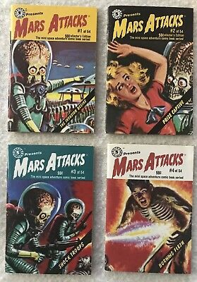 Set of 4 Topps 1988 MARS ATTACKS Mini Pocket Comics Issues #1-4 all in G/VGC