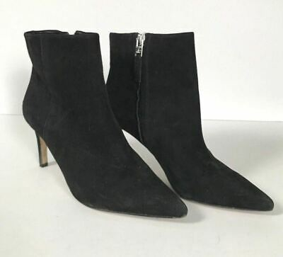 60606b57182f0 Sam Edelman Karen Black Suede Leather Pointed Toe Ankle Boots Booties -  Size 6