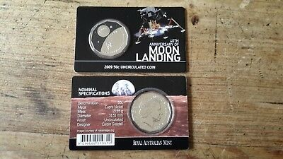 2009    40th ANNIVERSARY OF MOON LANDING..50c uncirculated coin on card