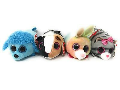 """Set of 4 TY Beanie Boos 4"""" Teeny Tys LEXI THEO WHIZ CASSIE Stackable Plush MWMTs"""