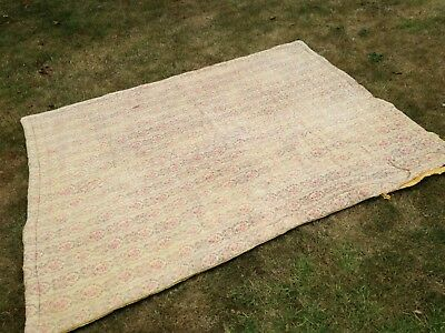 Vintage French Quilt Boutis Bedcover Throw Bedspread 1800's