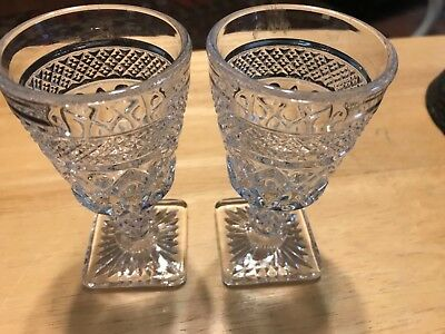 "2-Wexford Anchor Hocking 4 1/2"" Cordial Juice Glass Stemware Diamond Cut"