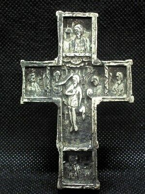 Medieval Byzantine Fully Silvered Bronze Cross With Fine Details And Saints
