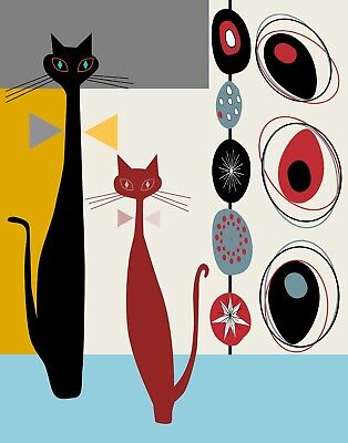 Mid Century Modern Abstract Cat