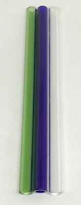 "3 Piece of 8"" Glass Pyrex Blowing Tubes 12 mm OD 2mm Thick Wall Tubing Colored"