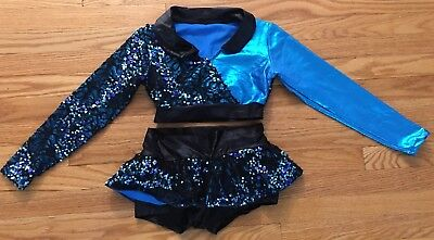 Pumpers Dance Costume Girls Large Blue Metallic, Black Lace And Sequins