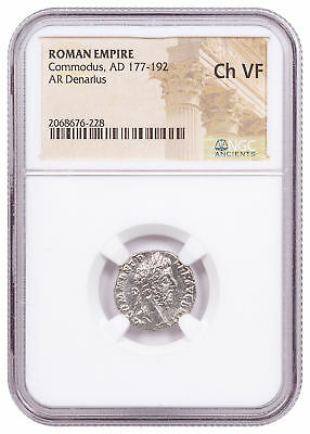 AD 177-192 Roman Empire Silver Denarius of Commodus NGC Ch. VF SKU56206