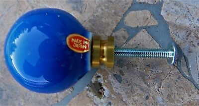 """VINTAGE BLUE ROUND PORCELAIN KNOB, BRASS BASE~ 1 1/4"""" x 1 5/8"""" ~NEW IN PACKAGE"""