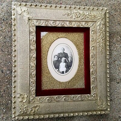 ANTIQUE Victorian 1860 AESTHETIC GILT Gesso Wood Picture Photo Frame RED VELVET!