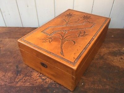 Antique Swiss Wooden Carved Shaving Mirror Box Stand Trinkets Jewellery Chest