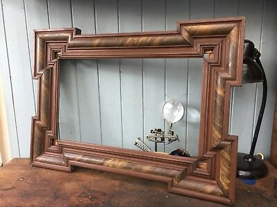 Antique French Wood Frame TLC Mirror Picture Painting