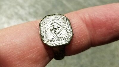 Large Ancient Byzantine Bronze Ring (#11b) Engraved Crosslet, 20mm Diameter