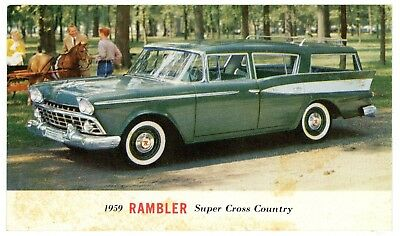 1959 Rambler Super Cross Country Station Wagon Postcard (unposted card)
