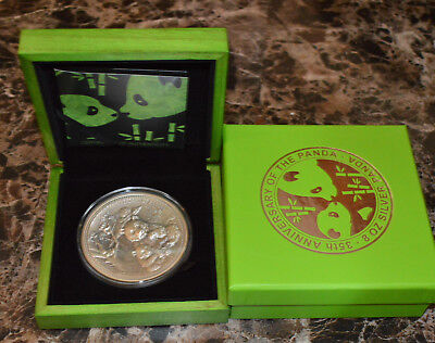 2017 8 oz Silver Panda Fiji $5 Coin Antiqued High Relief In Cap w - Box & COA