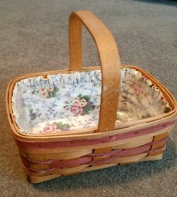 LONGABERGER Small Rectangular Handle Basket with Floral Liner and Plastic Liner